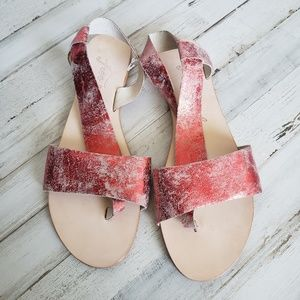 Free People Under Wrap Red Sandals NWOT